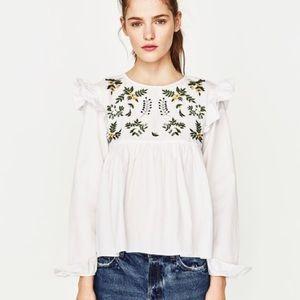 Beautiful Zara Embroidered Ruffle White Top